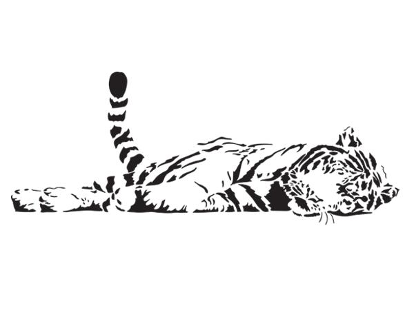 wandtattoo wandaufkleber schlafender tiger bestellen bei aufkleber. Black Bedroom Furniture Sets. Home Design Ideas