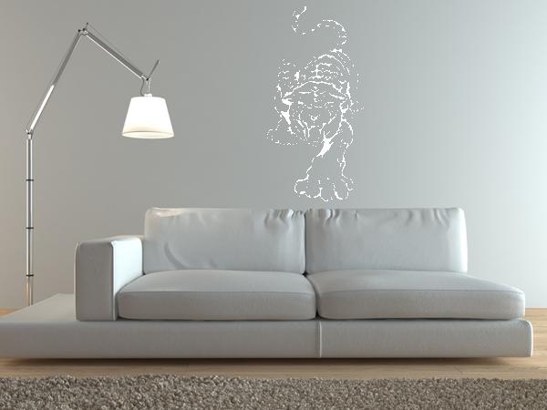 wandtattoo wandaufkleber angreifender tiger bestellen. Black Bedroom Furniture Sets. Home Design Ideas